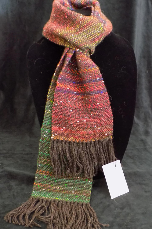 Handwoven Red & Green Scarf