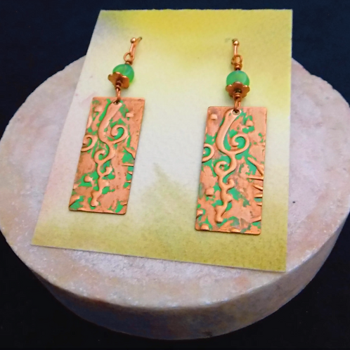 Copper Stamped Green Patina Earrings