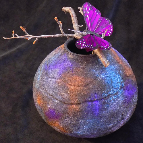 Japanese Raku Style Gourd Vase with Butterfly Accent