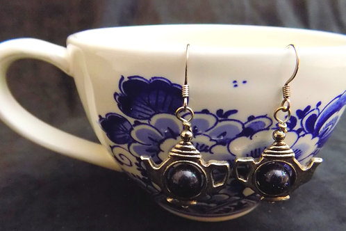 Blue Moonstone Bead Tea Pot Earrings