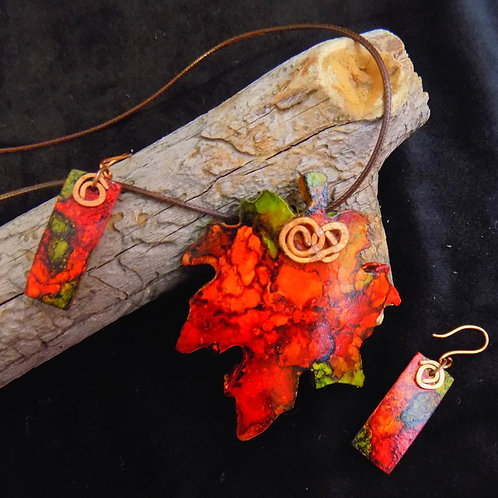 Red & Green Leaf Gourd Jewelry Set with copper wire accents