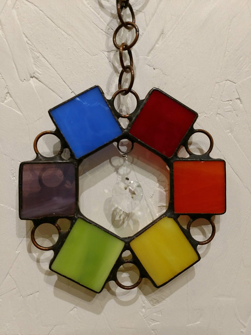 Rainbow Circle Stained Glass Sun Catcher