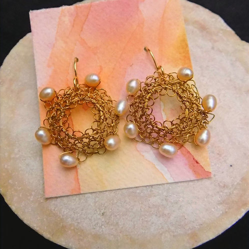 Brass Filigree Earrings with Cultured Pearls
