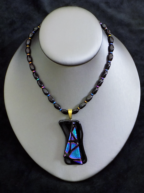 Northern Lights Fused Glass Necklace
