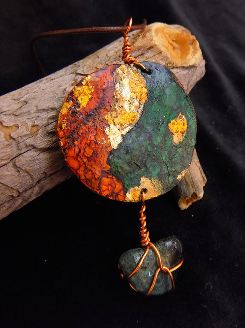 Brown & Green Gourd Jewelry Pendant with Gemstone & Gold Metallic Accent