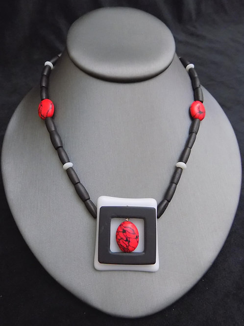 Outside the Box Fused Glass & Black Square Beads Necklace