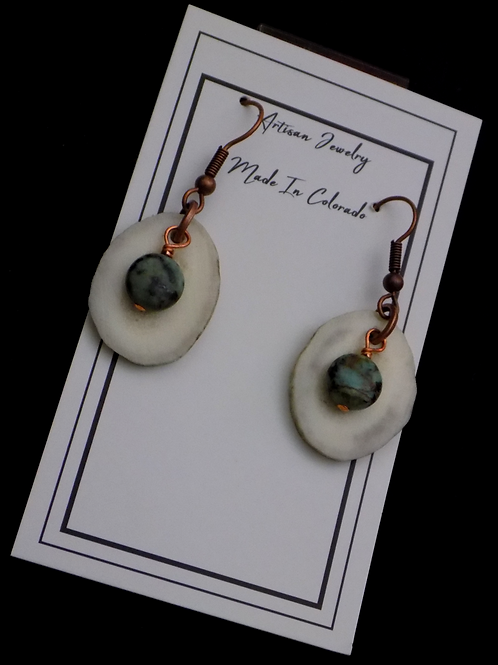 Antler Earrings with African Turquoise on Copper