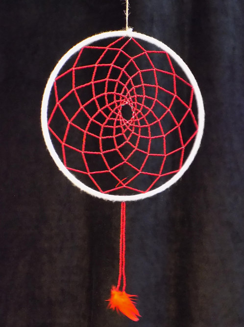 """8"""" White Dreamcatcher with Red Beads"""