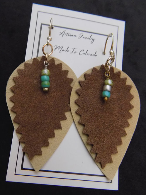 Leather Earrings with Czech Glass