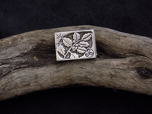 Hand Cast Sterling Silver Bead: Twig of Holly
