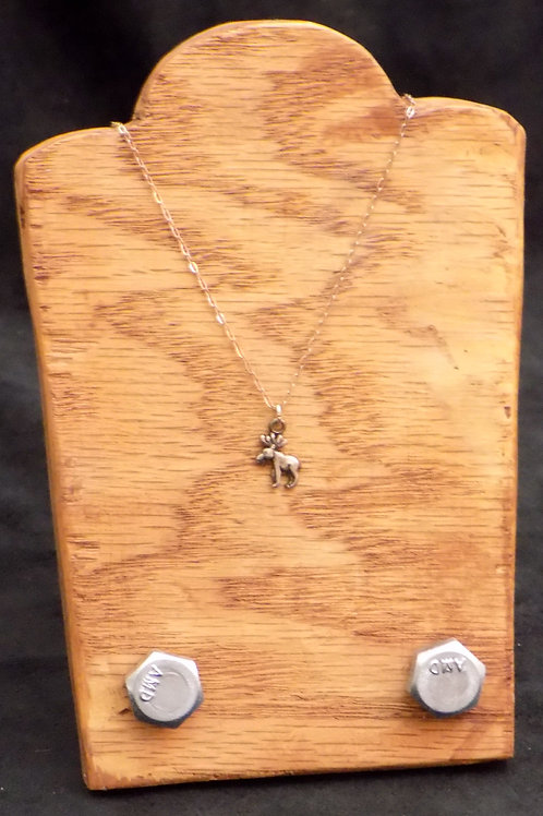 """Sterling Silver Mini Moose 18"""" Necklace"""