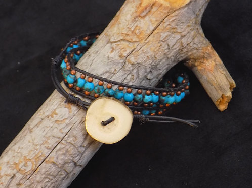 Adjustable Bracelet with Turquoise