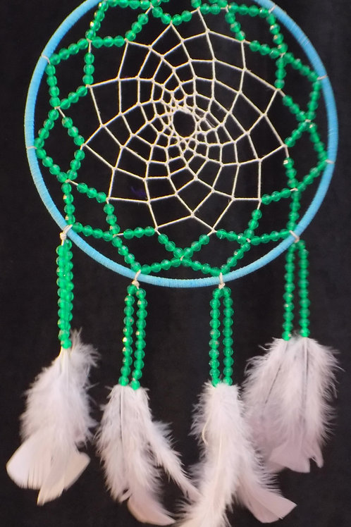 "10"" Green Beaded Dreamcatcher"