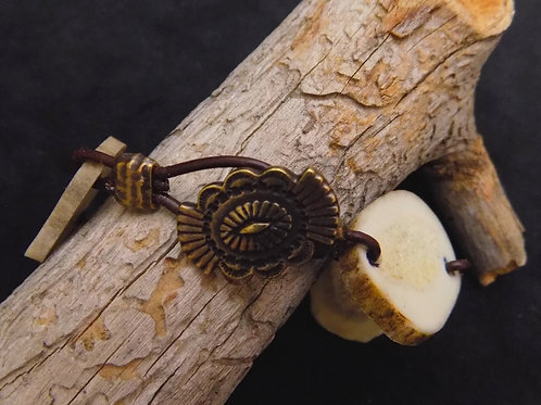 "8"" Authentic Antler Bracelet with Leather & Brass Beads"