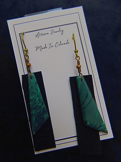 Leather & Malachite Earrings
