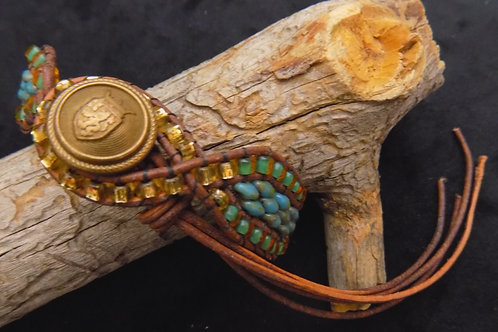 Bead Wrap Czech Glass & Leather Bracelet
