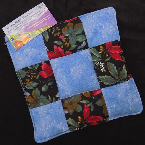 Blue Patchwork Poinsettia Potholder