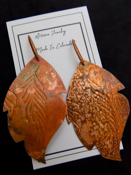 Handcut Copper Patina Feathers
