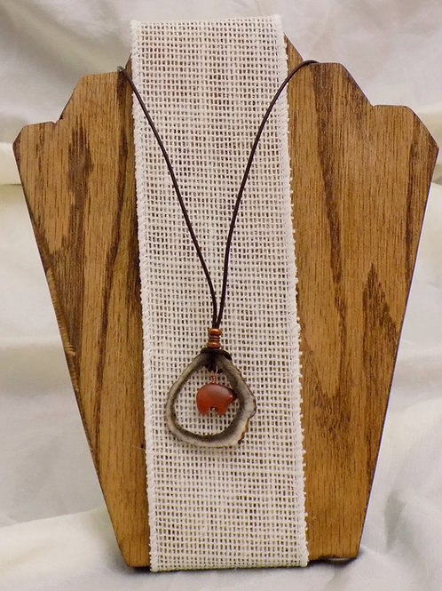 Antler Necklace with Goldstone Bear on Leather Cord