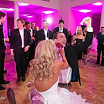 Bride and Groom photo with pink uplighting