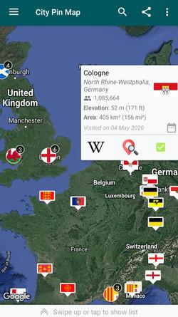 Pin Travel Map of Europe