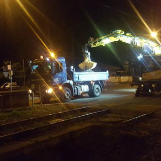 Nachtbaustelle im Gleisbau