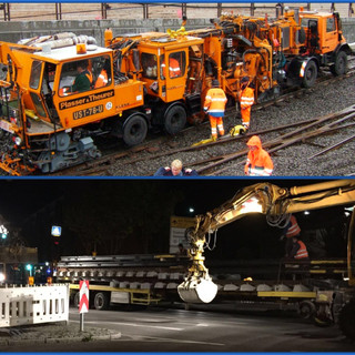 Gleisbau bei Tag und Nacht