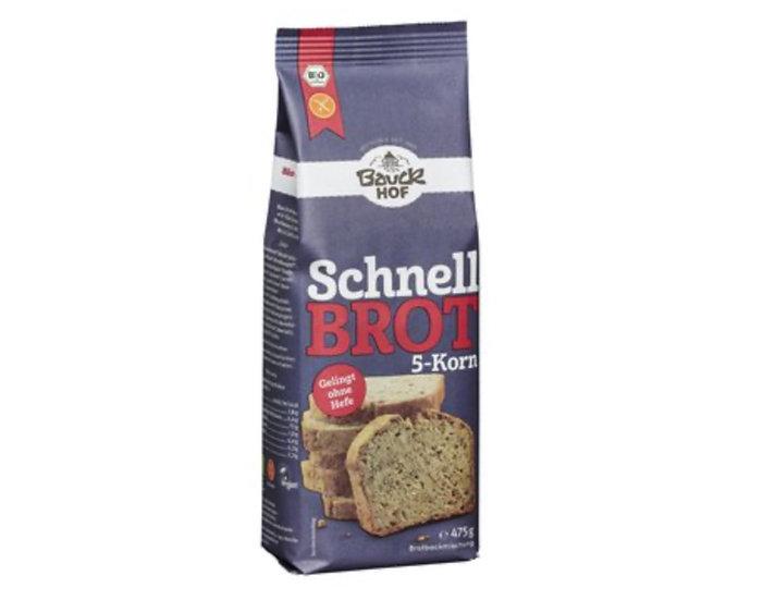 Bio Schnellbrot 5-Korn Brotbackmischung, glutenfrei 475g