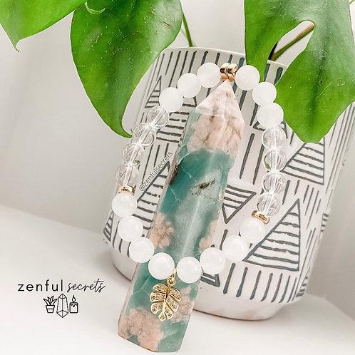 Aolani Bracelet -White Jade, Clear Quartz