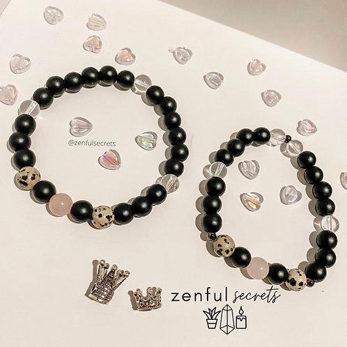 Blissful Love Bracelet - Dalmatian Jasper, Rose Quartz, Clear Quartz, Onyx