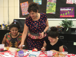 Wanda working with students.