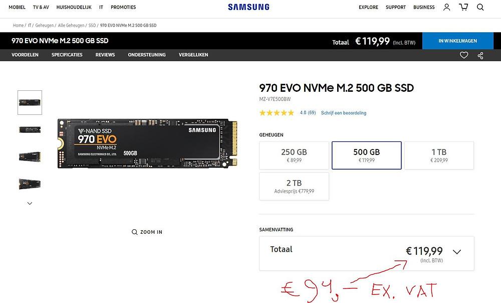 Samsung 970 evo NVME M.2 500gb