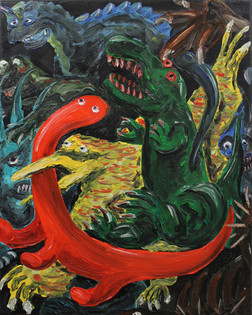 Dino action, 40 x 50 cm, oil on canvas.j