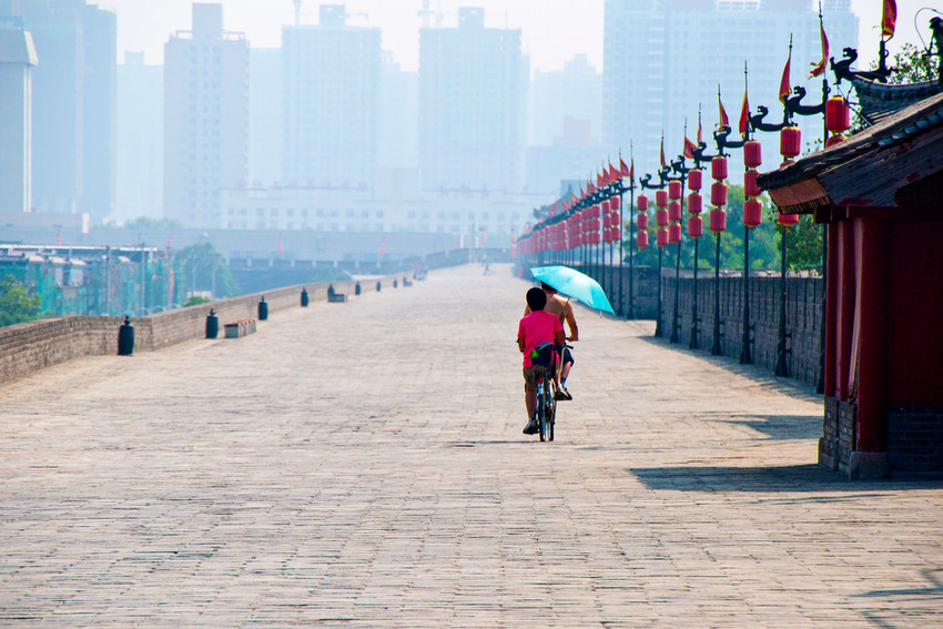 Xian auf der Stadtmauer