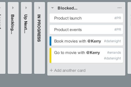 Picture of adding contexts in Trello using TrelloX