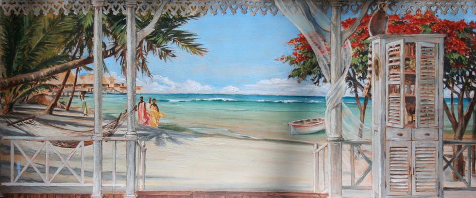 Décor plage exotique pour salon