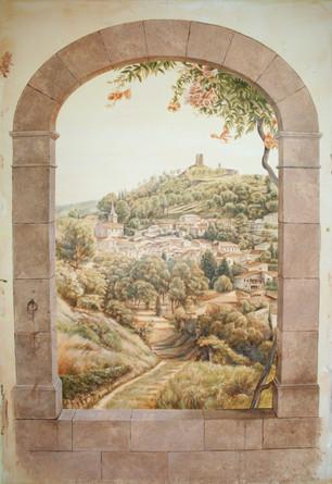 Paysage italien pour une alcove de bureau