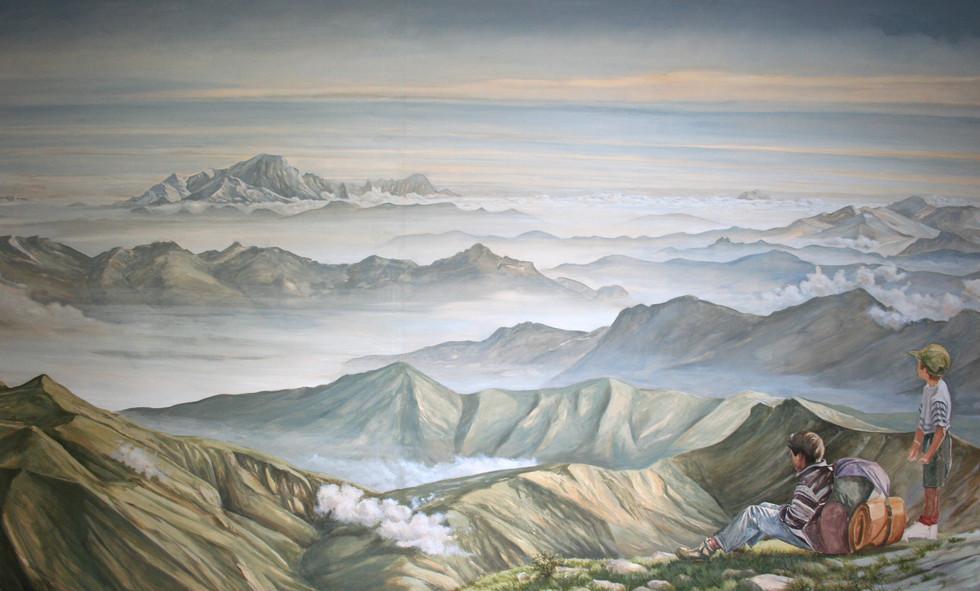 Vue du Mont Blanc pour montée d'escalier