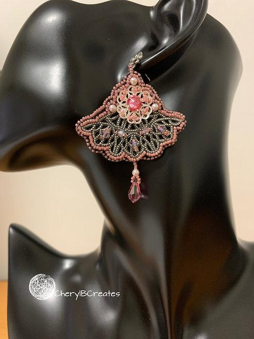 Pink Fan Earrings