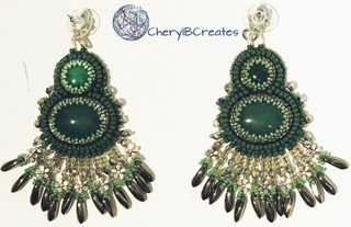 Double Green Statement Earrings