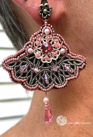 Pink Fan Statement Earrings