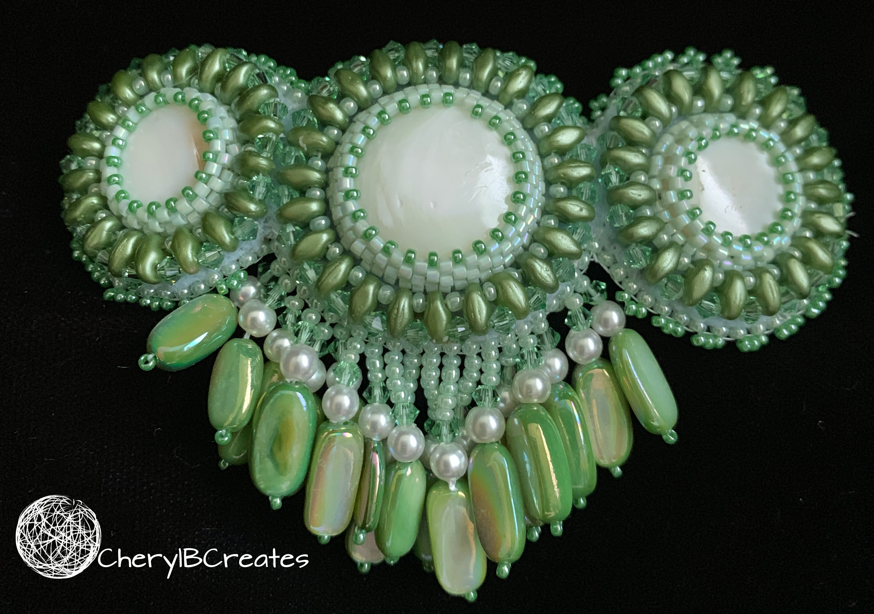 Green Fringed Barrette