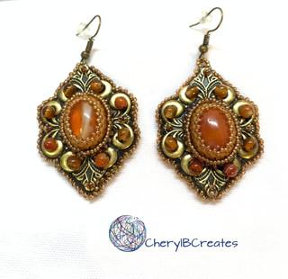Carnelian Gold Statement Earrings