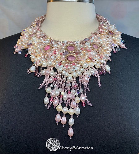 Tickled Pink Statement Bead Embroidered Necklace
