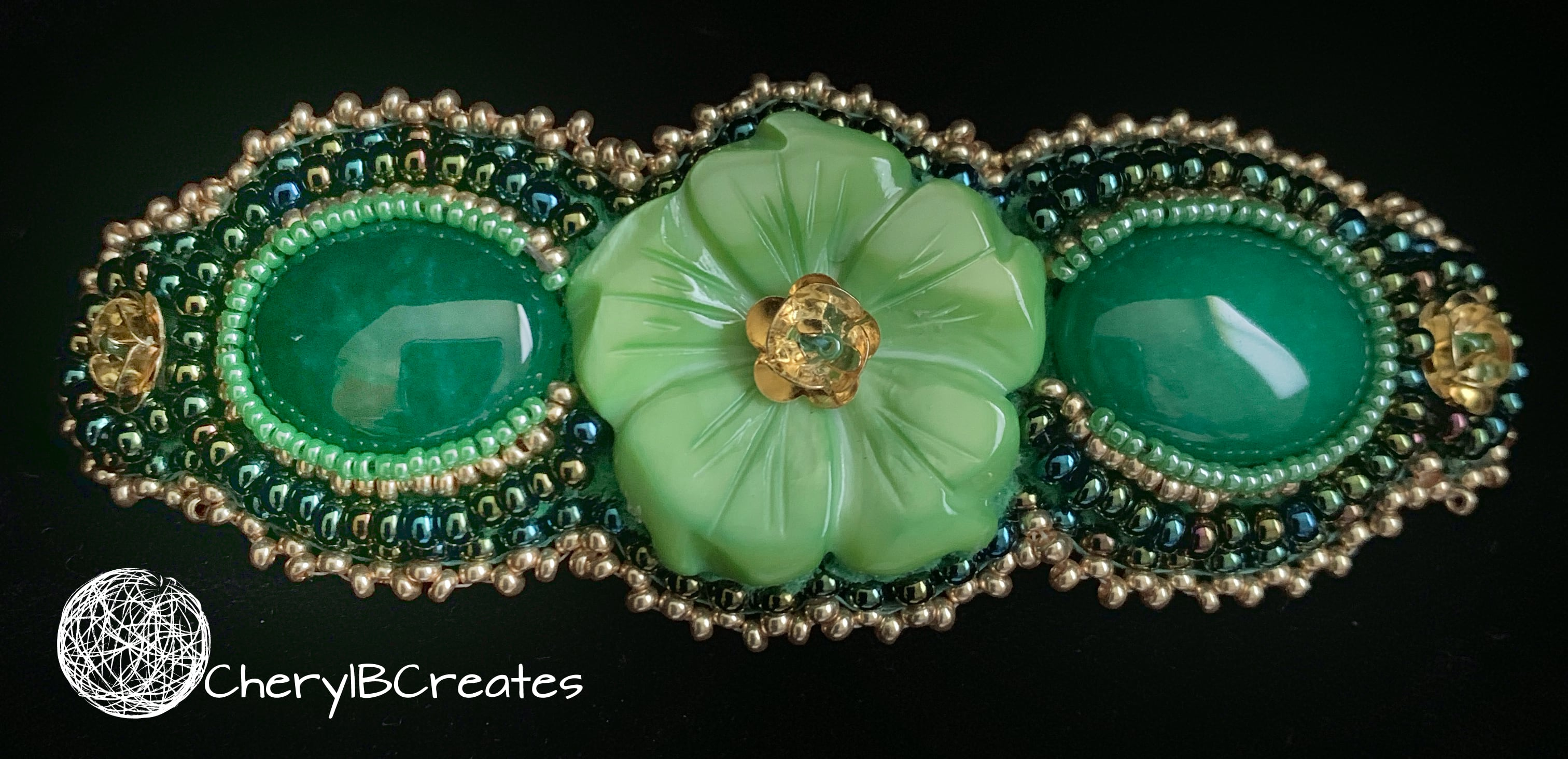 Green Flower Barrette