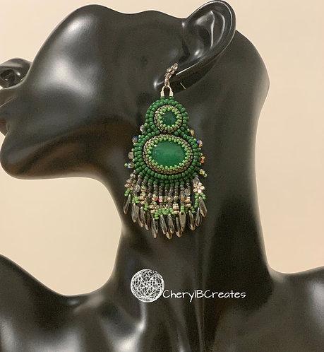 Double Green Earrings