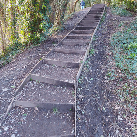 steps up to old railway