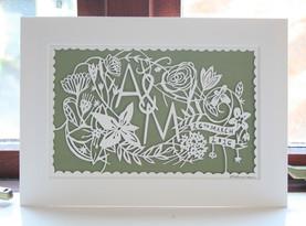 Wedding gift personalised papercut