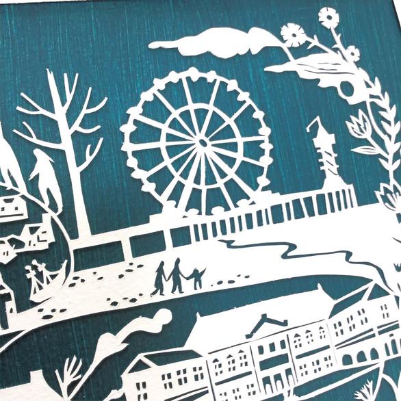 Original Papercut: Den Haag & Scheveningen, SOLD, see bespoke papercuts to order a similar piece.