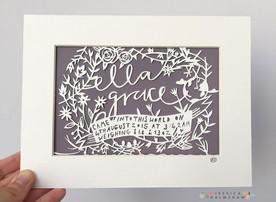 Christening personalised papercut